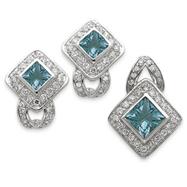 Sterling Silver Light Blue CZ Pendant & Earring Set