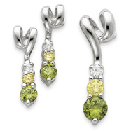 Sterling Silver Yellow & Green CZ Earring & Pendant Set