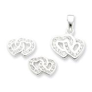 Sterling Silver Double Heart CZ Pendant & Earring Set