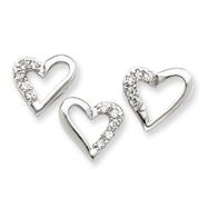 Sterling Silver CZ Heart Pendant & Earring Set