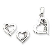 Sterling Silver CZ Heart Earring & Pendant Set