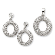 Sterling Silver CZ Circle Pendant & Earring Set