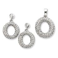 Sterling Silver CZ Circle Pendant & Earring Set