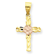 14K Two-Tone Gold Cross With Flower Pendant