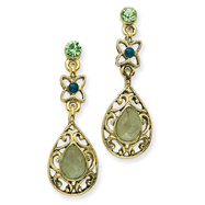 Brass-Tone Green Crystal Pear-Shape Faceted Drop Post Earrings