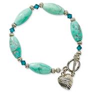 "Turquoise Blue Zircon Crystal Heart Charm 7.25"" Bracelet"