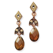 Copper-Tone Smokey Brown Colorado Crystal Post Earrings