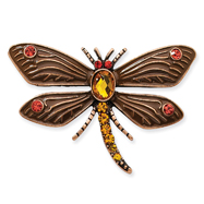 Copper-Tone Hyacinth Tangerine Crystal Dragonfly Pin