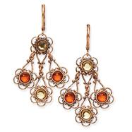 Copper-Tone Sienna Colorado Crystal Chandelier Leverback Earrings