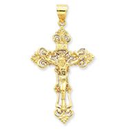 14K Gold INRI Fleur De Lis Crucifix Pendant