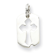 Sterling Silver Dog Tag Cross Charm