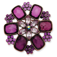 Copper-Tone Light & Dark Purple Purple Enamel Flower Round Pin