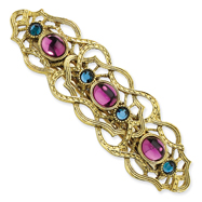 Brass-Tone Blue And Dark Purple Crystal Filigree Barrette