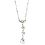 "Silver-Tone Crystal Teardrop Y 16"" Necklace"