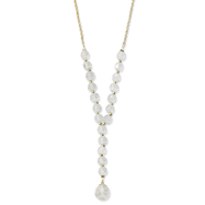 "Silver-Tone Crystal Beaded  16"" Necklace"
