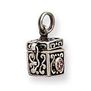 Sterling Silver Antiqued Prayer Box Charm