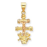 14K Two-Tone Gold  Cara Vaca Crucifix Pendant