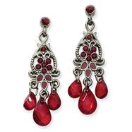 Black-Plated Red Crystal Tri-Teardrop Chandelier Post Earrings