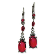 Black-Plated Red Crystal Cabochon Drop Leverback Earrings