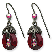 Black-Plated Red Aurora Borealis Crystal Pearshape Drop Earrings