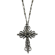 "Black-Plated Black Crystal Cross 30"" Necklace"