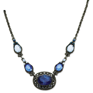 "Black-Plated Blue Crystal 16""  Necklace"