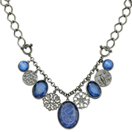 "Black-Plated Etched & Faceted Blue Crystal Multi Drop 16"" Necklace"