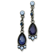 Black-Plated Blue Crystal Drop Post Earring
