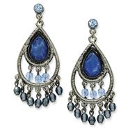 Black-Plated Blue Crystal Chandelier Post Earrings