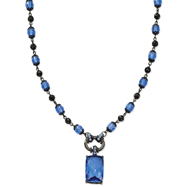 "Black-Plated Blue Crystal Drop 16""  Necklace"