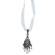 "Black-Plated Blue Crystal Blue Glass Pearl Organza 15"" Necklace"