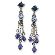 Black-Plated Blue Crystal Tassel Post Earrings