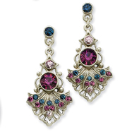Pewter-Tone Light & Dark Purple Blue Crystal Post Earrings