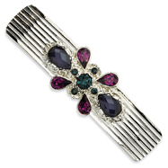 Blue & Dark Purple Crystal On Silver-Tone Barrette