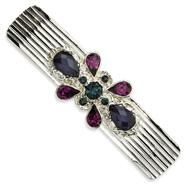 Blue & Dark Purple Crystal On Silver-Tone Barrette