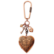 Burnish Copper-Tone Colorado Crystal Heart Key Fob