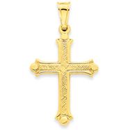 14K Gold Hollow Fleur De Lis Cross Pendant