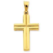 14K Gold Hollow Cross Pendant