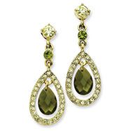 Brass-Tone Green Jonquil Crystal Teardrop Post Earrings