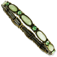 Burnished Brass-Tone Opaque Green Green Crystal Stretch Bracelet