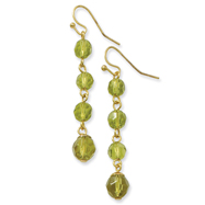 Gold-Tone Olivine Crystal Beaded Dangle Earrings