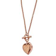 "Rose-Tone Heart Locket Decorative Toggle 18"" Necklace"
