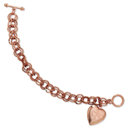 "Rose-Tone Heart Locket Chain Toggle 7.25"" Bracelet"