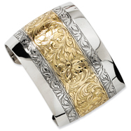 Gold-Tone And Silver-Tone Floral Cuff Bracelet
