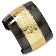 Gold-Tone And Black-Plated Floral Cuff Bracelet