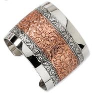 Rose-Tone And Silver-Tone Floral Cuff Bracelet