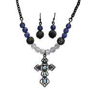 "Black-Plated  Blue Crystal Earrings & 16"" Cross Necklace Set"