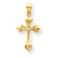 14K Gold Diamond-cut Passion Cross Charm