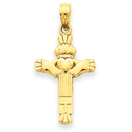 14K Gold Claddagh Cross Charm