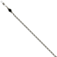 "Black Crystal Bead Eyeglass Holder Silver-Tone 30"" Chain"